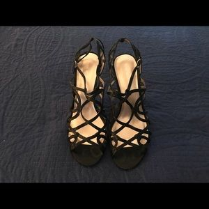 Nine West black satin cage sandals/heels